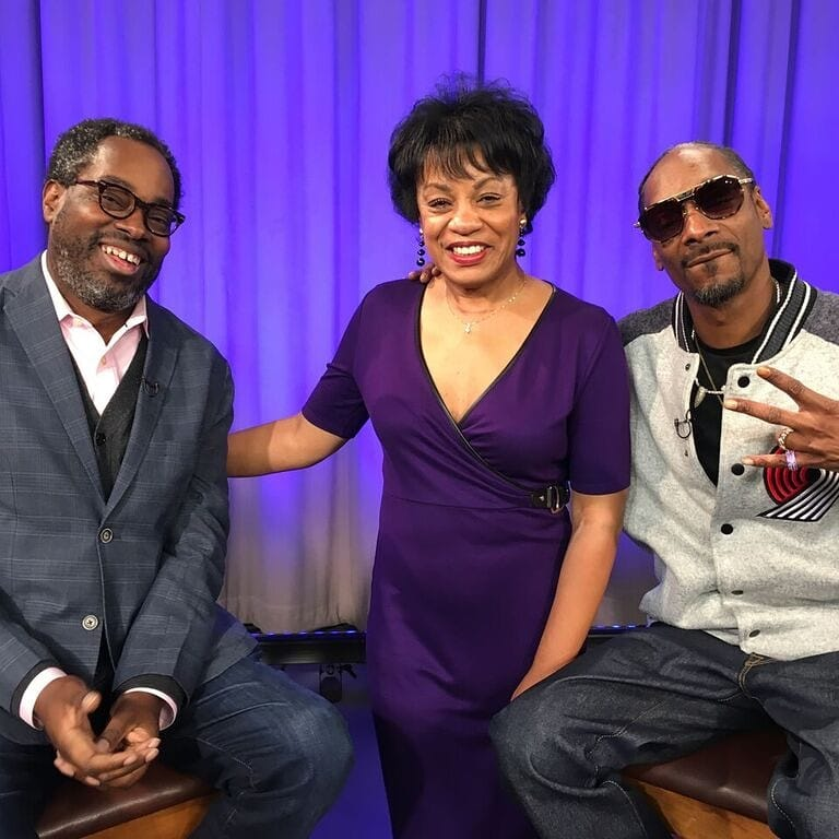 Host Stephen Henderson, Producer Daphne Hughes and Snoop Dogg behind the scenes of the October 14th episode of American Black Journal.